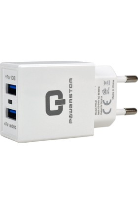 Powerstar Cep Telefonu Şarj Aleti 3.1 Amper 2 USB Hızlı Şarj Adaptörü