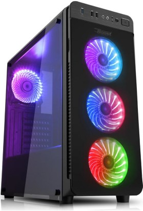 Power Boost VK-G1030RGB USB 3.0 Tempered Glass Pencereli RGB Fanlı Gaming Kasa (PSU Yok) (JBST-VKG1030RGB)