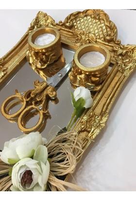 Atelier Es Söz Nişan Tepsisi Altın Varak Eskitme Bronz