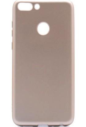 CoverZone Huawei P Smart Kılıf Premier Silikon Kapak Altın + Temperli Ekran Koruma