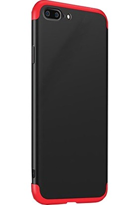 CoverZone Apple iPhone 6 Plus 360 Derece 3 Parçalı Ays Kılıf Siyah Kırmızı