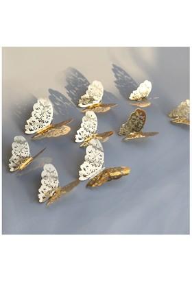 Piramigo 3D Altın Kelebek Dekoratif Duvar Süsü 12 Adet