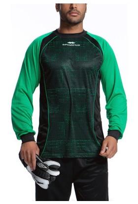 Sportive Erkek Bisiklet Yaka Uzun Kollu Siyah-Yeşil Kaleci Kazağı