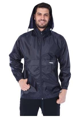 Sportive Erkek Fermuarlı Kapşonlu Lacivert Yağmurluk
