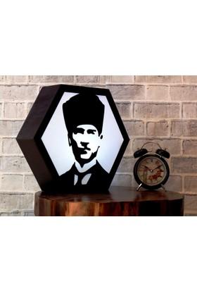Alas Atatürk Motifli Otantik Ahşap Masa Lambası Gece Lambası