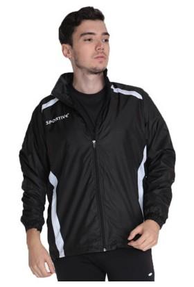 Sportive Basics Line Kamp Erkek Kapüşonlu Siyah Yağmurluk