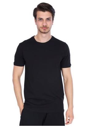 Sportive Erkek Siyah Bisiklet Yaka T-Shirt