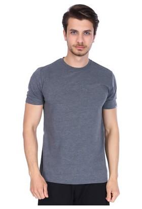 Sportive Erkek Gri Bisiklet Yaka T-Shirt
