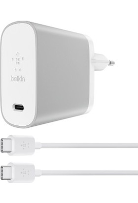 Belkin 45w USB-C Şarj Cihazı + USB-C Kablo - Gümüş