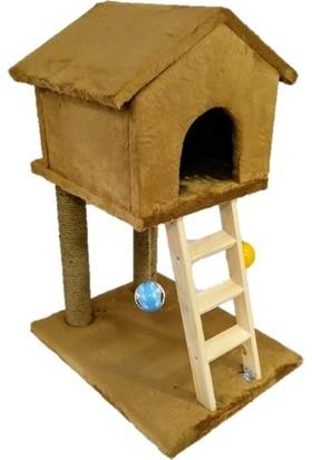 Pets Süngerli Oyuncaklı Merdivenli Dekoratif Kedi Tırmalama Evi