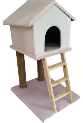 Pets Merdiven ve Tırmalamalı Dekoratif Kedi Evi