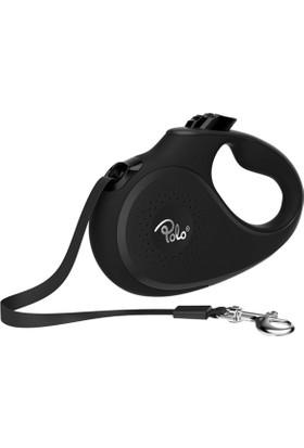 Polo Solid Makaralı Otomatik Tasma S 5 Metre - 15 Kg Siyah