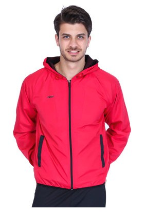 Sportive Erkek Kapüşonlu Pembe Koşu Ceketi