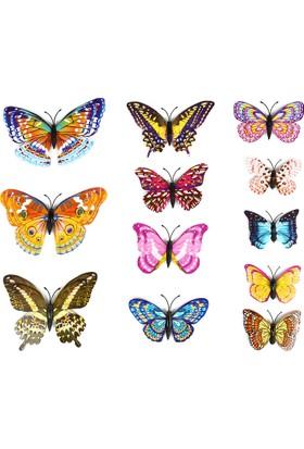Jewval Gece Karanlıkta Parlayan Kelebek 10 Adet Fosforlu ve Mıknatıslı Dekoratif Kelebek