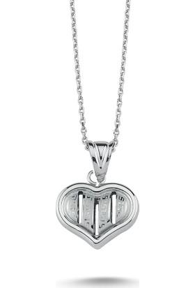 MyGümüş Love Yazılı Kalp Gümüş Kolye