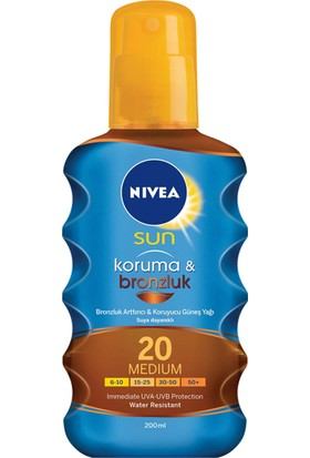 Nivea Sun Koruma&Bronzluk Bronzluk Arttırıcı Güneş Spreyi Gkf 20 200Ml