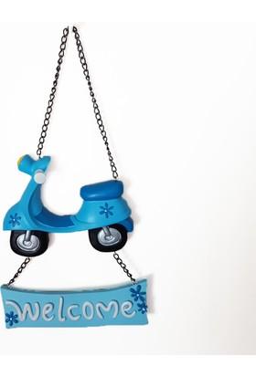 Giftpoint Mavi Motorsiklet Welcome Kapı Süsü