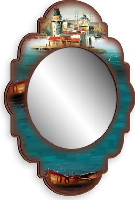 Turkuaz Dekoratif Ahşap Çerçeveli Ayna 38 x 50cm