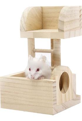 Carno Hamster Oyuncağı Naturel Ahşap Gözcü Kulesi 13 x 8,5 x 8Cm