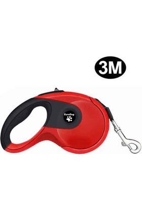 Eurodog Otomatik Şerit Köpek Gezdirme Tasması 3 Mt Kırmızı-Siyah