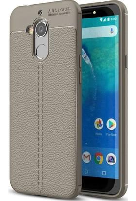 Teleplus General Mobile GM 8 Deri Dokulu Silikon Kılıf Gri