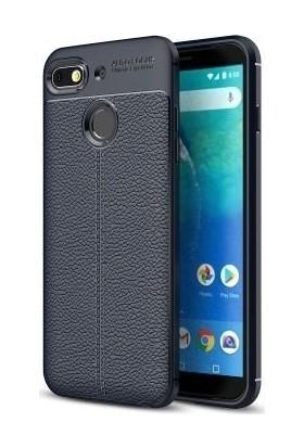 Teleplus General Mobile GM 8 Go Deri Dokulu Silikon Kılıf Lacivert + Nano Ekran Koruyucu