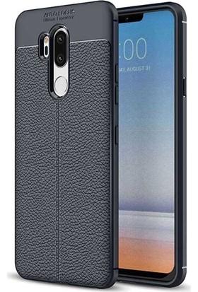 Teleplus LG G7 Deri Dokulu Silikon Kılıf Lacivert