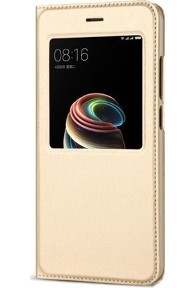 Teleplus Xiaomi Mi Note 3 Pencereli Kılıf Gold