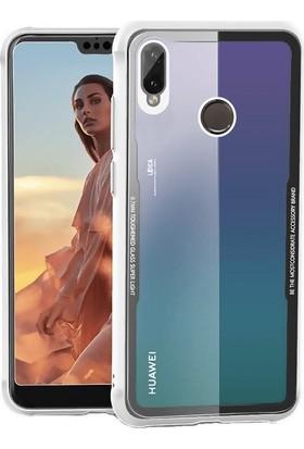 Teleplus Huawei P20 Lite Arkası Şeffaf Silikon Kılıf Beyaz