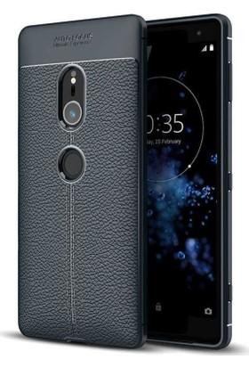 Teleplus Sony Xperia XZ2 Deri Dokulu Silikon Kılıf Lacivert