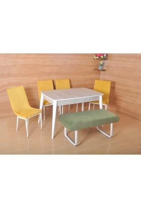 Mobayz 6 Kişilik 4 Sandalye 1 Bench Sabit Ahşap Masa Takımı