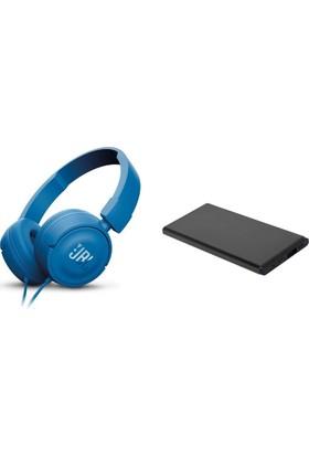 JBL T450 Kulaküstü CT Kulaklık Mavi + Dexim Daks 5000 mAh Micro USB/Lightning Giriş Slim Powerbank