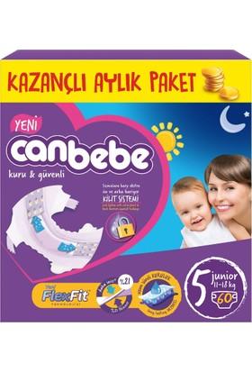 Canbebe Bebek Bezi Aylık Paket 5 Beden Junior 60 Adet 11 - 18 kg