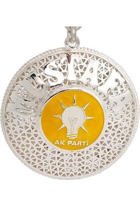 Ninova Silver Ak Parti Logolu Gümüş Telkari İsimli Anahtarlık