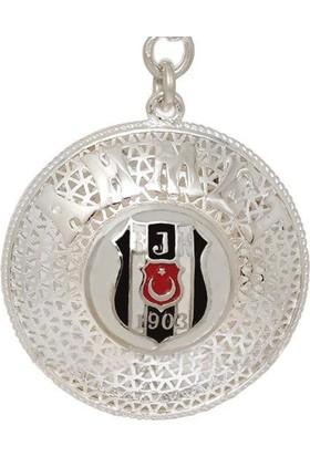 Ninova Silver Bjk Logolu Gümüş İsimli Telkari Anahtarlık