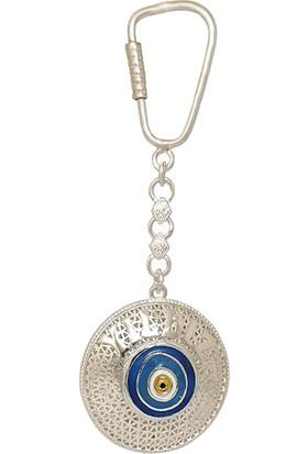 Ninova Silver Nazarlık Modeli Telkari Gümüş İsimli Anahtarlık