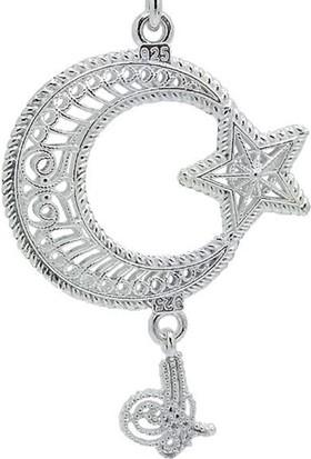 Ninova Silver Midyat Telkari El İşi Gümüş Ayyıldız Anahtarlık