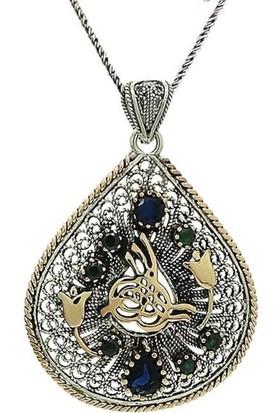 Ninova Silver Gümüş Telkari Bayan Kolye Osmanlı Tuğralı