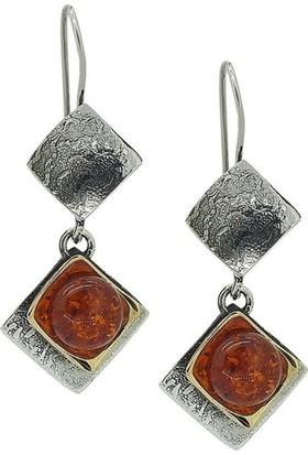 Ninova Silver Gümüş Tasarım Kehribar Taşlı Küpe