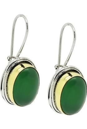 Ninova Silver Gümüş Yeşil Akik Taşlı Gümüş Bayan Küpe