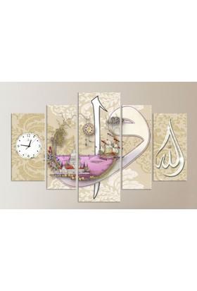 Meteor Galeri Elif Vav Ve Allah Yazılı Kız Kulesi İslami Saatli Kanvas Tablo 5 Parça Parçalı
