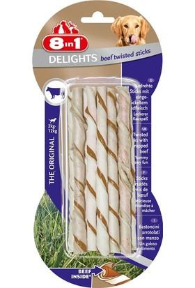 8 IN 1 Delights Bones Köpekler İçin Biftekli Twested Sticks 10'lu