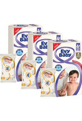 Evy Baby Bebek Bezi 4+ Beden Maxiplus Ekonomik Paket 126 Adet (180 Yaprak Islak Havlu Hediye)