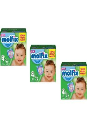 Molfix Bebek Bezi 4+ Beden Maxi Plus Süper Fırsat Paketi 72x3 216 adet 9-16KG