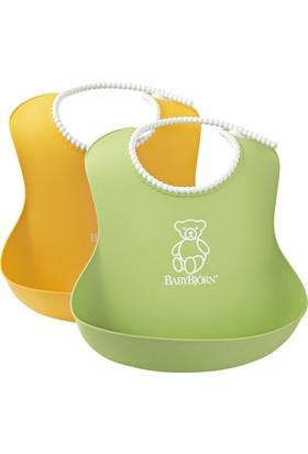 BabyBjörn Yumuşak Plastik Mama Önlüğü / Green-Yellow 2´li