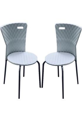 Plastico Piramit 2'li Beyaz Plastik Sandalye
