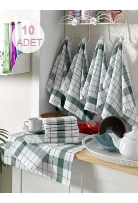 Eponj Home 10'lu Kurulama ve Mutfak Peçetesi 46x76Cm Kalın Çizgili Yeşil