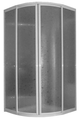 Armina Beyaz Mika Plastik Camlı Duşakabin Oval 80-80