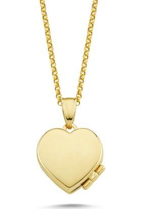 Sembolgold Altın Resimli Kolye Doç Zincirli Kalp Rsm-259