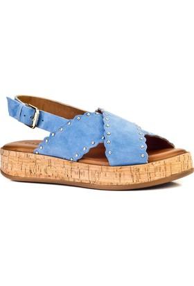 Cabani Capraz Bant Tokalı Günlük Kadın Sandalet Mavi